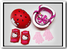 HELLO KITTY HELMET-PADS-GLOVES COMPLETE SET - $32.99